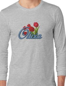 Olivia with Red Tulips and cobalt blue Script Long Sleeve T-Shirt