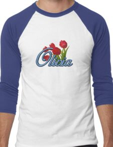 Olivia with Red Tulips and cobalt blue Script Men's Baseball ¾ T-Shirt