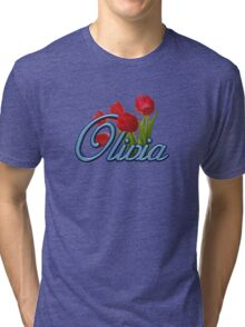 Olivia with Red Tulips and cobalt blue Script Tri-blend T-Shirt