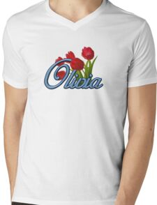 Olivia with Red Tulips and cobalt blue Script Mens V-Neck T-Shirt