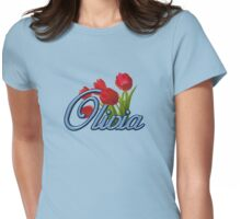 Olivia with Red Tulips and cobalt blue Script Womens Fitted T-Shirt