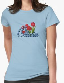 Olivia with Red Tulips and cobalt blue Script T-Shirt
