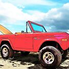Surf Bronco Beyond the 4 Wheel Drive Only Sign Padre Island by ChasSinklier