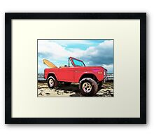 Surf Bronco Beyond the 4 Wheel Drive Only Sign Padre Island Framed Print