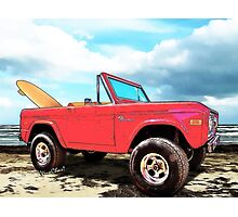 Surf Bronco Beyond the 4 Wheel Drive Only Sign Padre Island Photographic Print