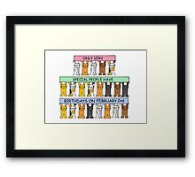Cats celebrating birthdays on February 2nd. Framed Print