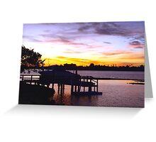 Boat at dock Greeting Card