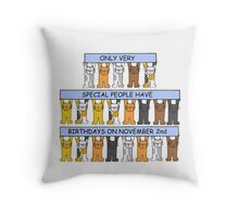 Cats celebrating Nvember 2nd Birthday. Throw Pillow