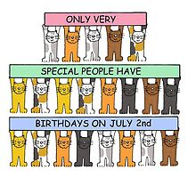 Cartoon cats celebrating July 2nd Birthday. by KateTaylor
