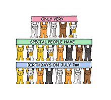Cartoon cats celebrating July 2nd Birthday. Photographic Print