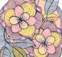 Pink and Peach Linework Floral Pattern Sticker
