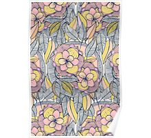 Pink and Peach Linework Floral Pattern Poster