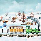 Choo-choo train winter folk art by gordonbruce