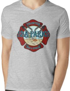 IT Crowd Inspired - Fire at Sea Parks - Sea Parks Volunteer Fire & Rescue - British Comedy Quotes Mens V-Neck T-Shirt