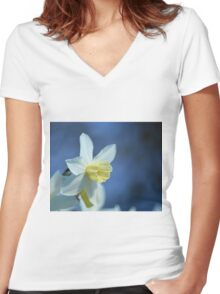 Daffodil in Spring Women's Fitted V-Neck T-Shirt