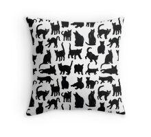 Black Cats Pattern  Throw Pillow