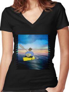 Kayak Man Women's Fitted V-Neck T-Shirt