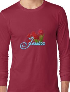 Jessica With Red Tulips and Neon Blue Script Long Sleeve T-Shirt