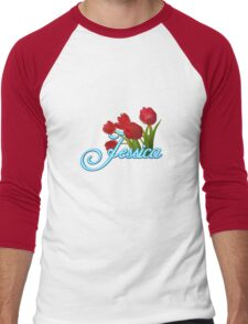 Jessica With Red Tulips and Neon Blue Script Men's Baseball ¾ T-Shirt