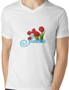 Jessica With Red Tulips and Neon Blue Script Mens V-Neck T-Shirt