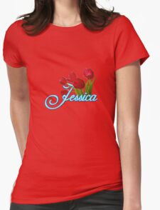 Jessica With Red Tulips and Neon Blue Script Womens Fitted T-Shirt