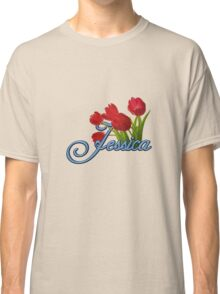 Jessica With Red Tulips and Cobalt Blue Script Classic T-Shirt