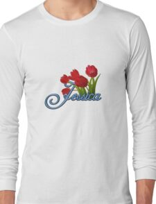 Jessica With Red Tulips and Cobalt Blue Script Long Sleeve T-Shirt