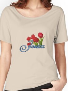 Jessica With Red Tulips and Cobalt Blue Script Women's Relaxed Fit T-Shirt