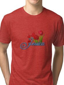 Jessica With Red Tulips and Cobalt Blue Script Tri-blend T-Shirt