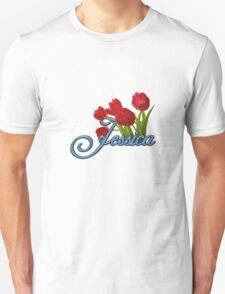 Jessica With Red Tulips and Cobalt Blue Script Unisex T-Shirt