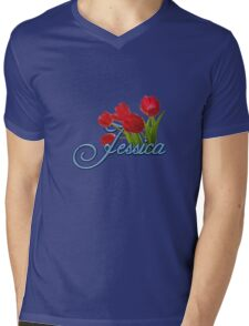 Jessica With Red Tulips and Cobalt Blue Script Mens V-Neck T-Shirt