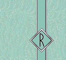 1920s Blue Deco Swing with Monogram letter R by CecelyBloom