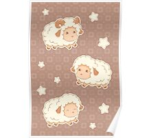 Cute Little Sheep on Tan Brown Poster