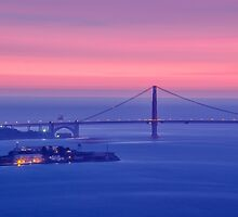 San Francisco Golden Gate Bridge at sunset by heyengel