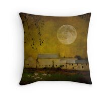 sheep under a harvest moon Throw Pillow