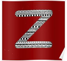 'Z' Patterned Monogram Poster