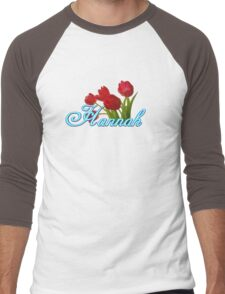 Hannah With Red Tulips and Neon Blue Script Men's Baseball ¾ T-Shirt