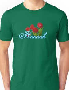 Hannah With Red Tulips and Neon Blue Script Unisex T-Shirt