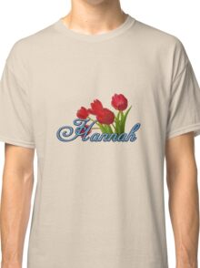 Hannah With Red Tulips and Cobalt Blue Script Classic T-Shirt