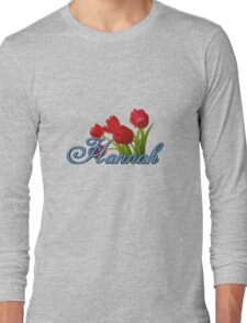 Hannah With Red Tulips and Cobalt Blue Script Long Sleeve T-Shirt