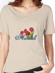 Hannah With Red Tulips and Cobalt Blue Script Women's Relaxed Fit T-Shirt