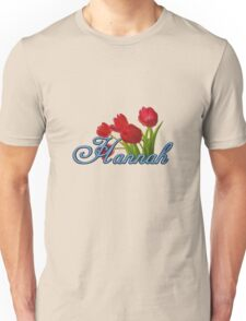 Hannah With Red Tulips and Cobalt Blue Script Unisex T-Shirt