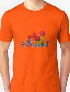 Hannah With Red Tulips and Cobalt Blue Script T-Shirt