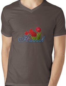 Hannah With Red Tulips and Cobalt Blue Script Mens V-Neck T-Shirt