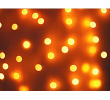 Abstract defocused and blur bokeh background of small yellow lights Photographic Print