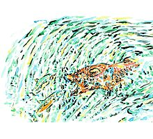 Bear and salmon Photographic Print