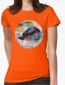 Mixed Media Bird on Blue Womens Fitted T-Shirt