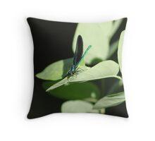 Emerald Dragonfly Throw Pillow