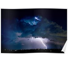 Clouds of Light. Lightning Striking Boulder County Colorado. Poster