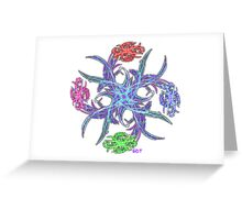 Fractal Flower Bouquet Star - pinwheel on white Greeting Card